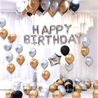 Happy Birthday Foil Balloon Decor Pack - Silver (Pack of 53 pcs)