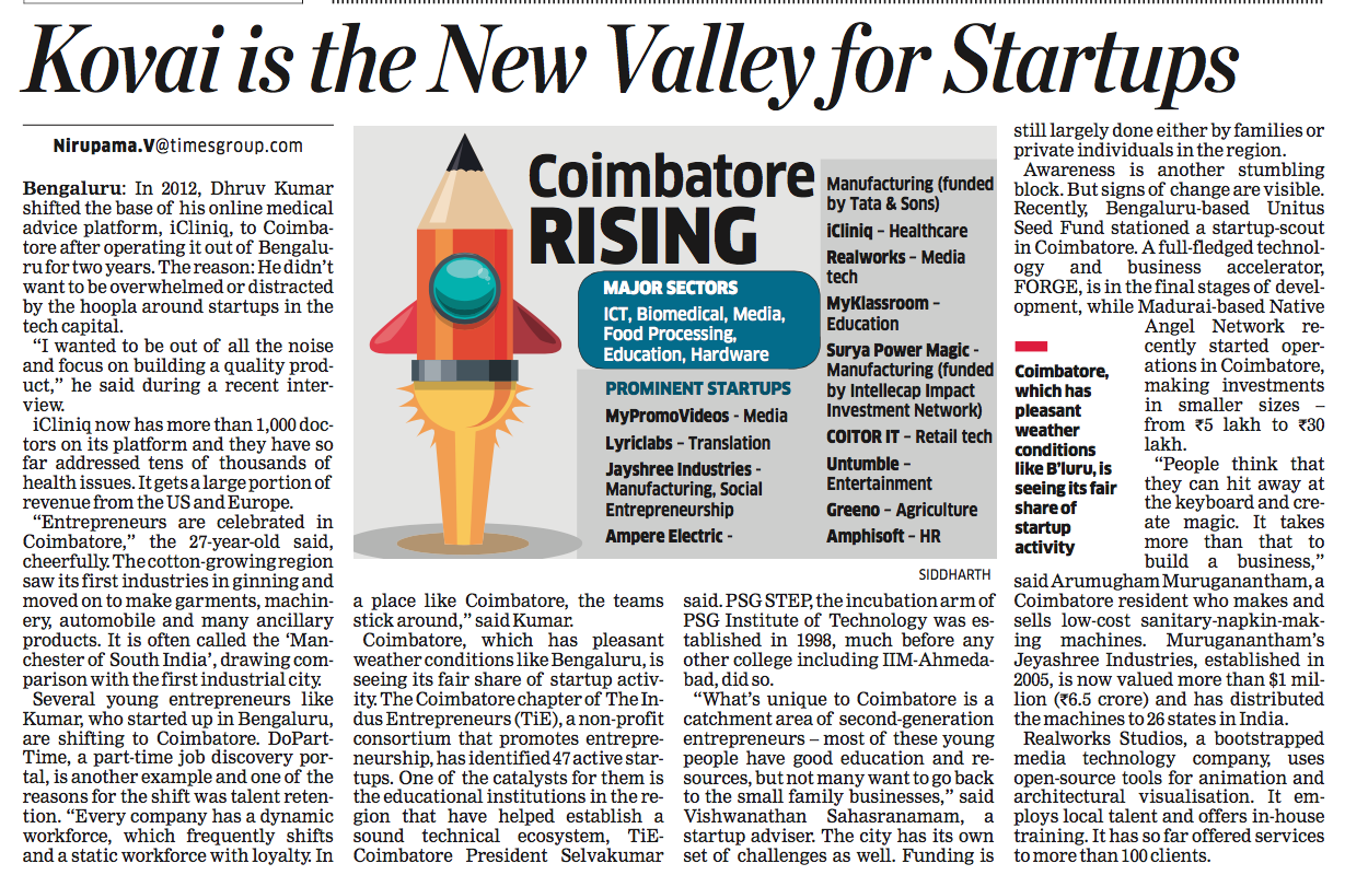 The Economic Times features Untumble as part of Coimbatore Startups
