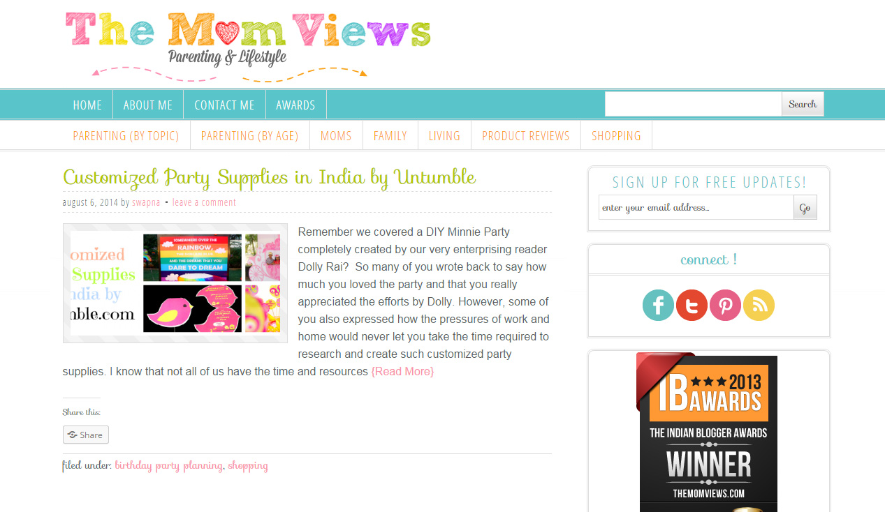Leading parenting blog TheMomViews features Untumble party supplies