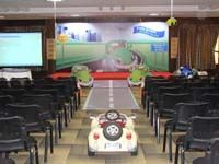 Stage layout with cutouts and car