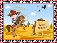 Cowboy Birthday theme Backdrop