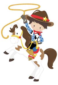 Little Cowboy on horse with lasso poster