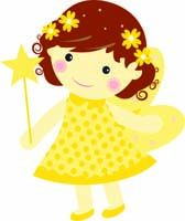 Yellow fairy with flowers - posters