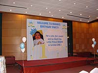 Pinstripes backdrop with baby photograph