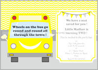 Wheels on the bus birthday Invitations