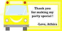 Wheels on a bus Theme Thank you cards