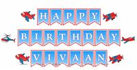 Aeroplane theme Happy Birthday Banner