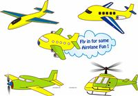 Aeroplane birthday theme Posters pack of 5