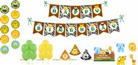 Jungle Animals Super saver birthday decoration kit (Pack of 58 pieces)