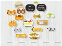 Jungle Party Photo Props (Set of 17 pieces)