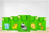 Jungle theme Green gift bag with tag