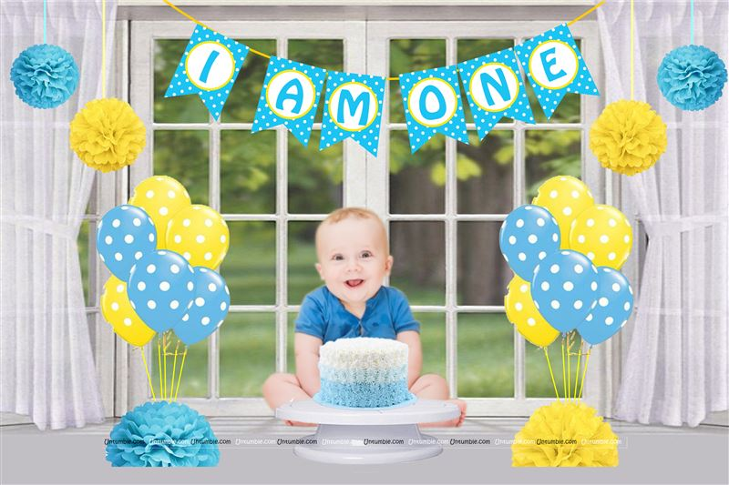 Boy 1st Birthday Cake Smash Photo Shoot kit (Pack of 17 pieces)