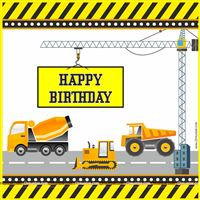 Backdrop - Construction theme birthday party supplies