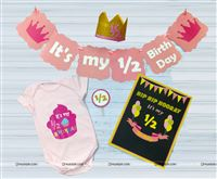 Pink Half Birthday party kits for a baby girl