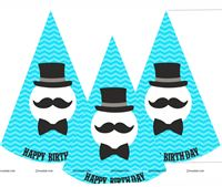 Little Man Birthday hats (Set of 6)