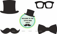 Little Man Birthday | Boss Baby | Mustache theme Posters pack of 5