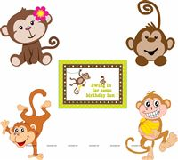 Monkey Birthday theme Posters pack of 5
