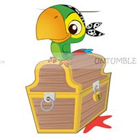Parrot with treasure chest poster