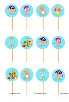 Pool theme cup cake toppers