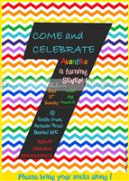Rainbow colored stripes number invite