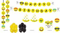 Emoji Super saver birthday decoration kit (Pack of 58 pieces)