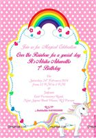 Rainbow Unicorn birthday invitations (Pack of 10)