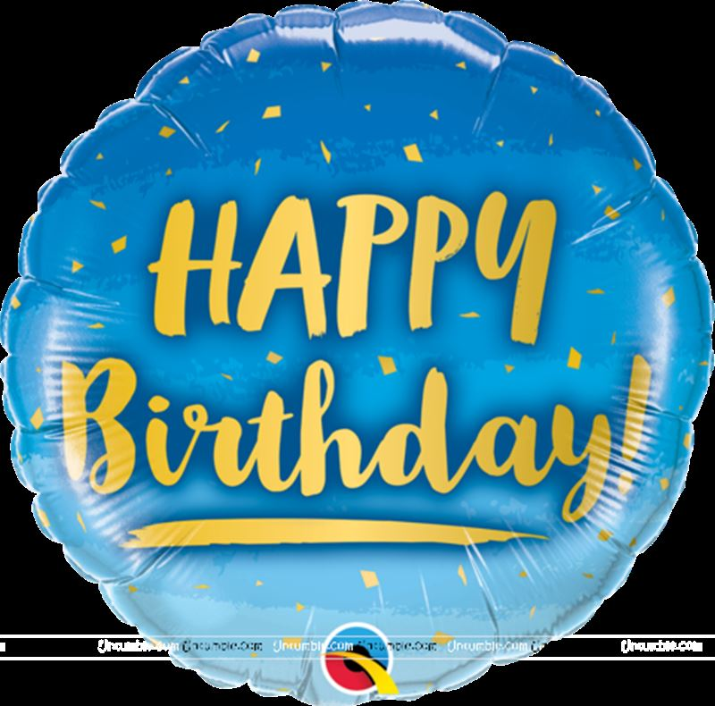 Happy Birthday Blue & Gold Foil balloon(18