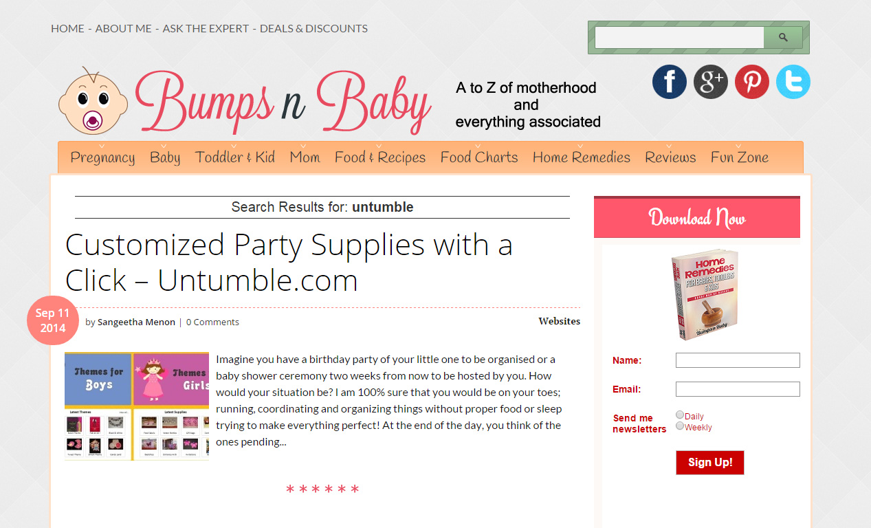Parenting blog BumpsNBaby features Untumble.com