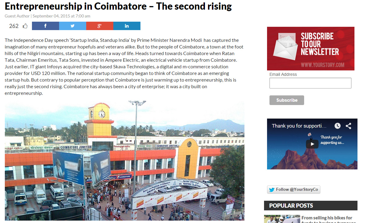 YourStory.com features Untumble as part of Coimbatore Startups