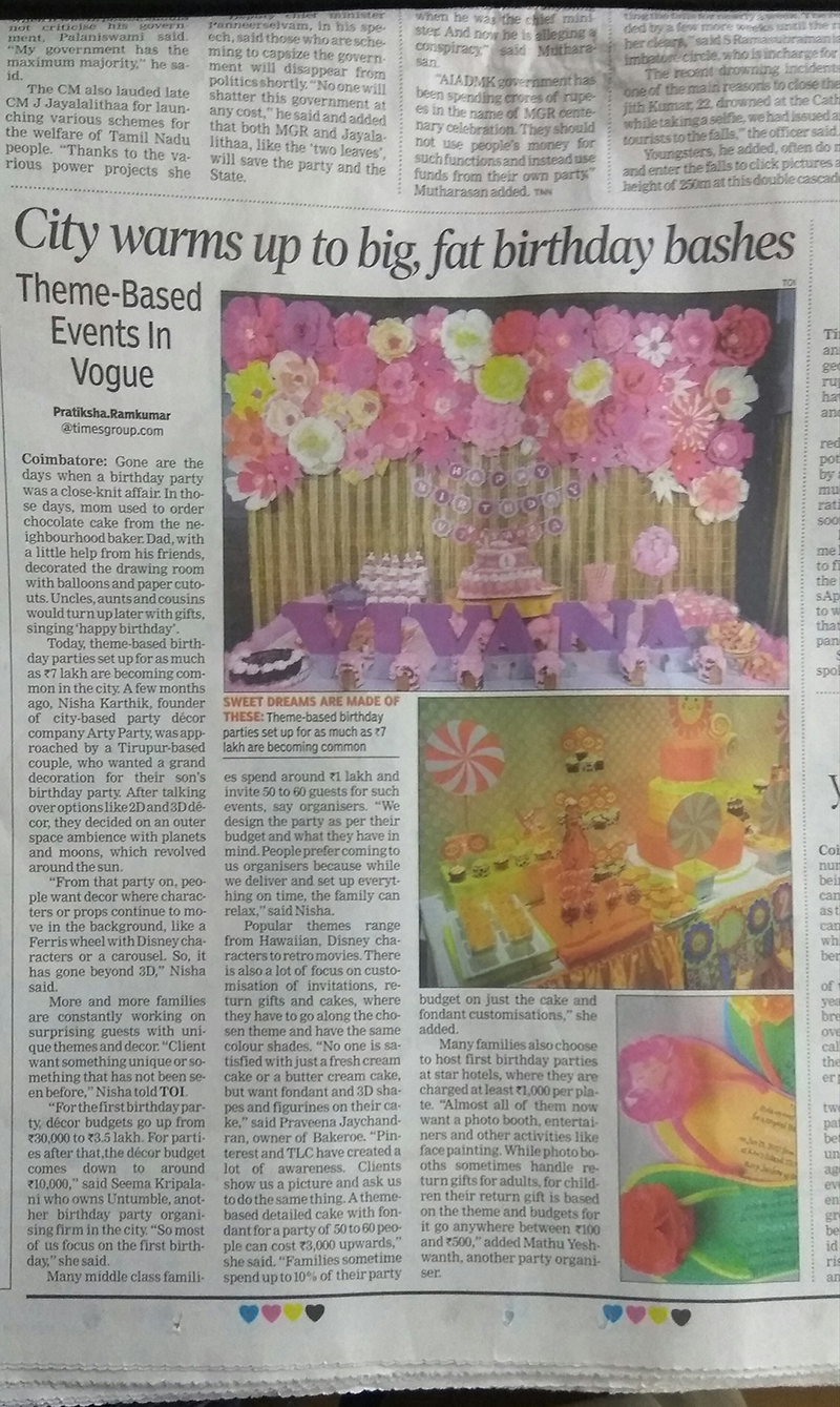 Times of India features Untumble with other event planners in Coimbatore