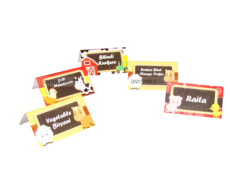 Farm Birthday theme Food labels