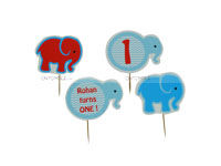 Elephant Theme Birthday Cup cake toppers