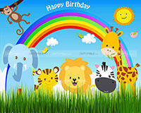 Baby Jungle Birthday theme Backdrop