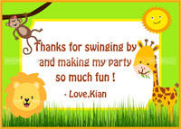 Baby Jungle Birthday theme Thank you cards