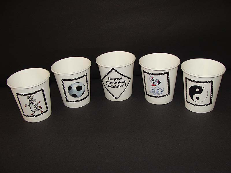 Black & White Birthday theme Cups - Theme based