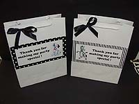 Black & White Birthday theme Stickered gift bags