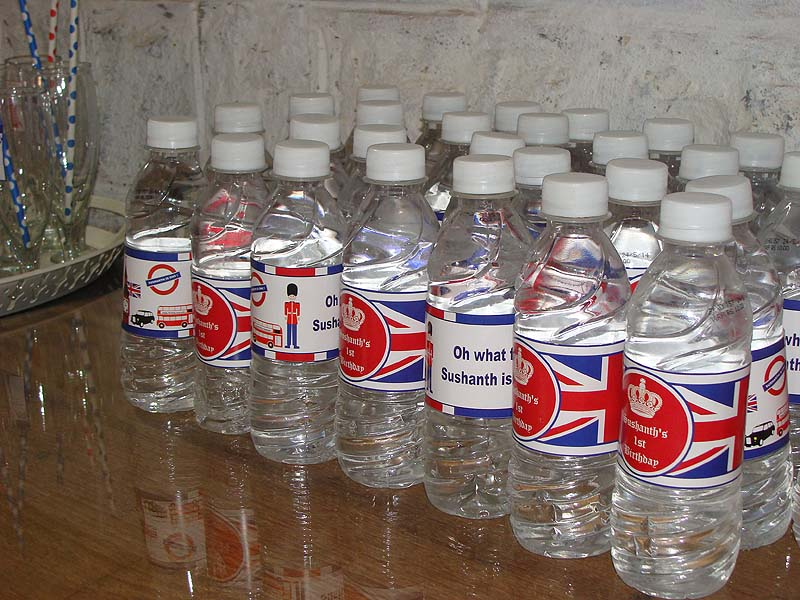 British Birthday theme Water bottle wrappers