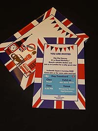 British Birthday theme Custom invitations