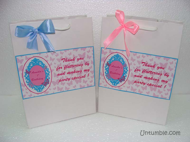 Pastel blue and Pink Gift Bag