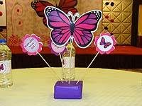 Dark pink and purple butterfly centerpiece