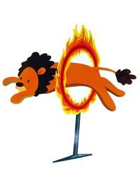 Lion jumping through ring of fire poster