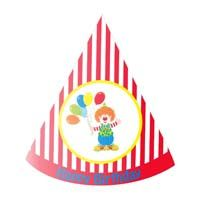 Red striped clown / carnival hat (Set of 6)