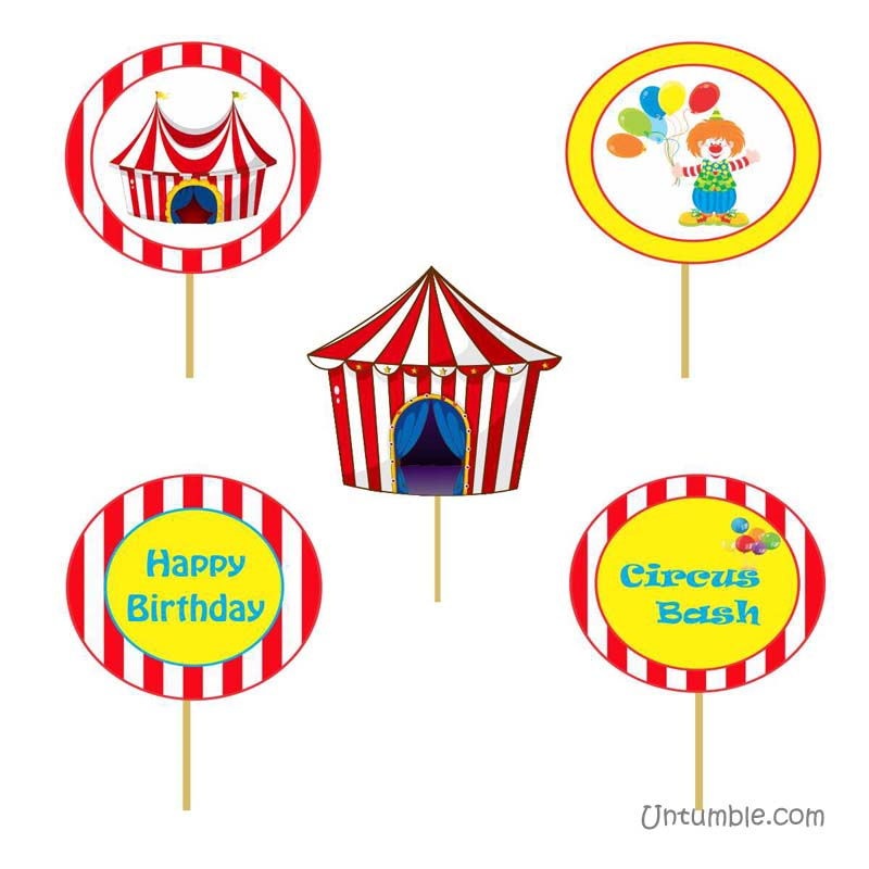 Circus Birthday theme Cup cake toppers
