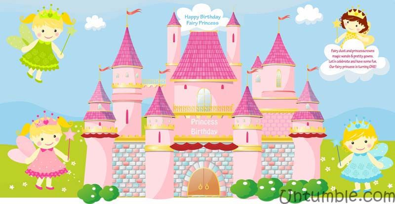 Fairy banner with castle (rectangular)