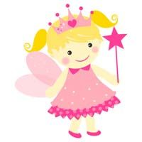 Pink fairy with crown - poster