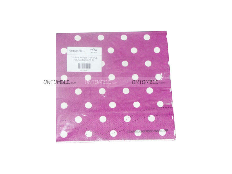 Tissue Paper - Purple Polka  (Pack of 20)