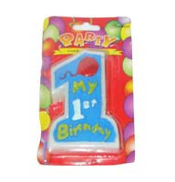No 1 Blue Birthday Candle