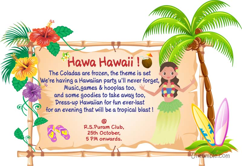 Hawaiian Party theme Rectangular Invitations