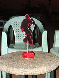Red dancing man centerpiece