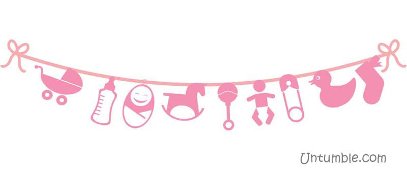 Pink baby elements bunting